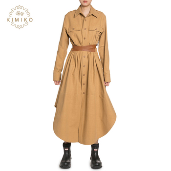 High Fashion Turn-Down Collar Long Sleeves Maxi Long Shirt Dress With Belt For Women