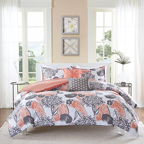 4 Piece Girls Pink Grey Floral Theme Comforter Twin XL Set, Pretty All Over Abstract Wild Flower Bedding, Beautiful Girly Multi Flowers Pattern Reversible Solid Themed, Dark Gray Salmon Coral Rose