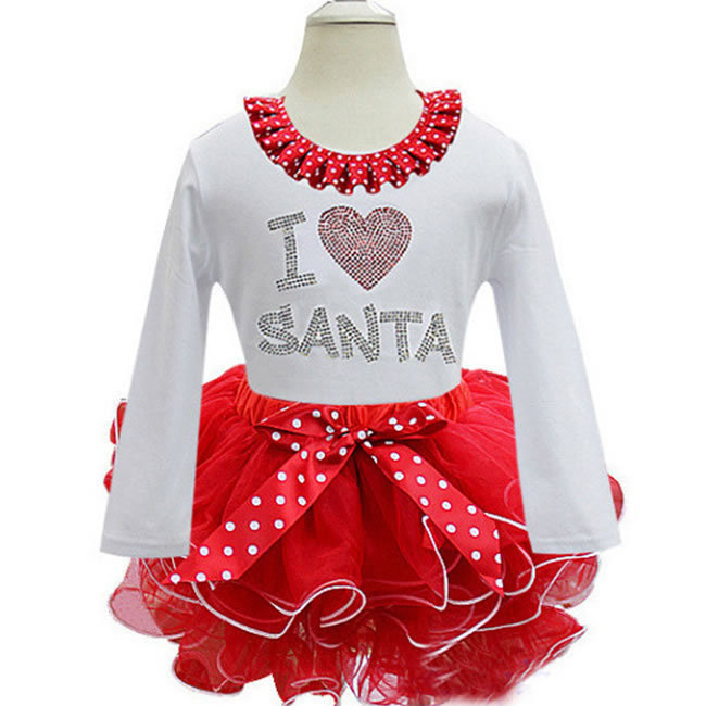 9a9dff6a8c4d Get Quotations · Christmas Dress For Kids Girls Lace TUTU Vestidos Infantil  Letter Bow Dot Party Disfrazs Toddler Costume
