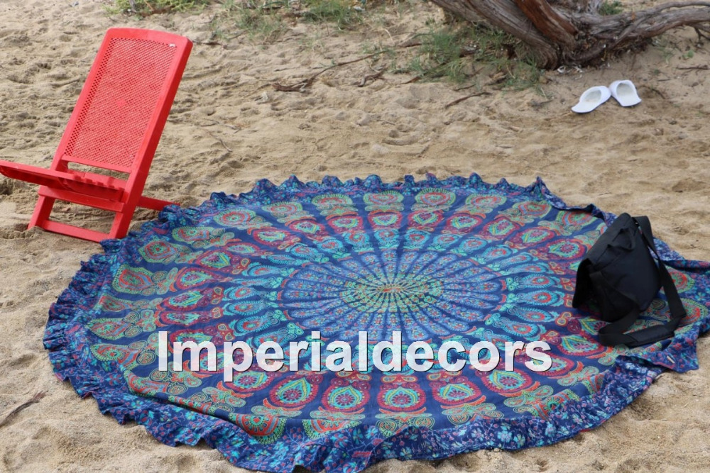 Indian Psychedelic Tapestry Round Size Hippie Mandala Bed sheet (100% Premium Quality) Perfect Home Decor.