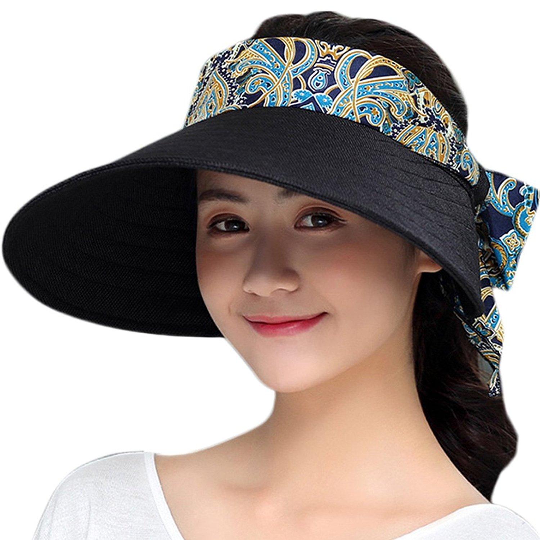d153840b383 Get Quotations · Aniwon Women Beach Visor Hat Breathable Foldable Summer  Visor Cap Sun Visor Hat Floppy Visor Cap