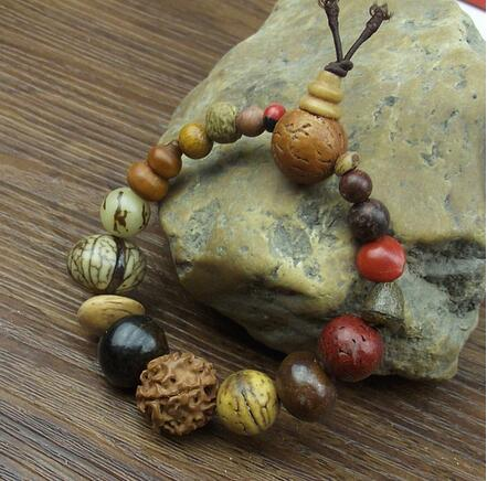 Fashion jewelry vintage natural 18 bodhi seed bracelet Buddha charm bracelet Tibet Buddhist prayer wood beads bracelet