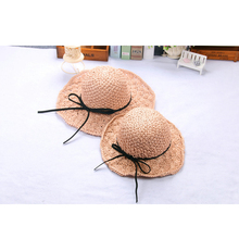 Summer Children'S Straw Hat Girls Beach Sunscreen Baby Sun Visor Caps Spring And Summer Seaside Hand-Woven Parent-Child Cap