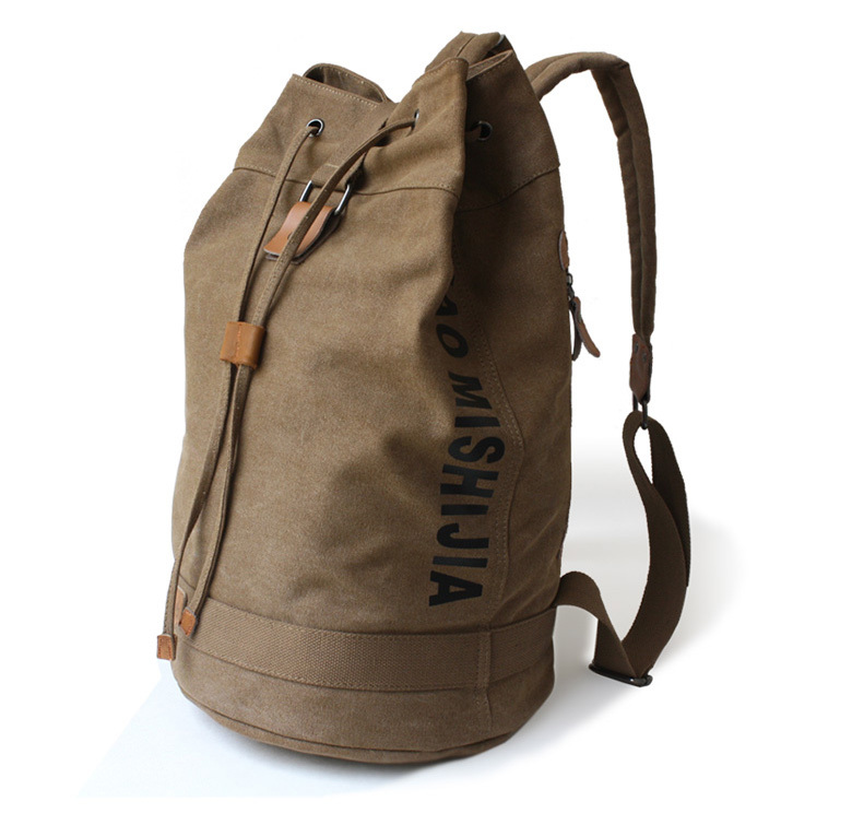 Large capacity men canvas backpack sports drawstring bucket bag concise sack  pack free shipping f371d65629