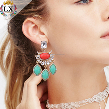 ELX-00130 elegant chram gold plating crystal bohemian charm artificial fancy red stone resin earring jewelry