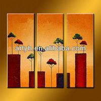 Handmade Modern Art Paintings 3 Panels On Canvas