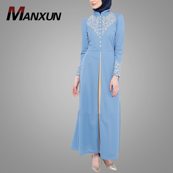 Latest Burqa Designs Pictures 2019 Designers Women Fashion Embroidery Muslim Abaya Dress Blue Hotsale Islamic Clothing