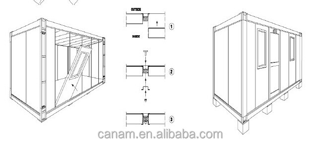 Flat-pack Bright Long Life container house plans/container hotel design