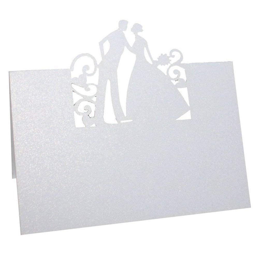 TOOGOO(R) 50pcs Name Place Card Wedding Party Table Decoration Bride Groom (White)
