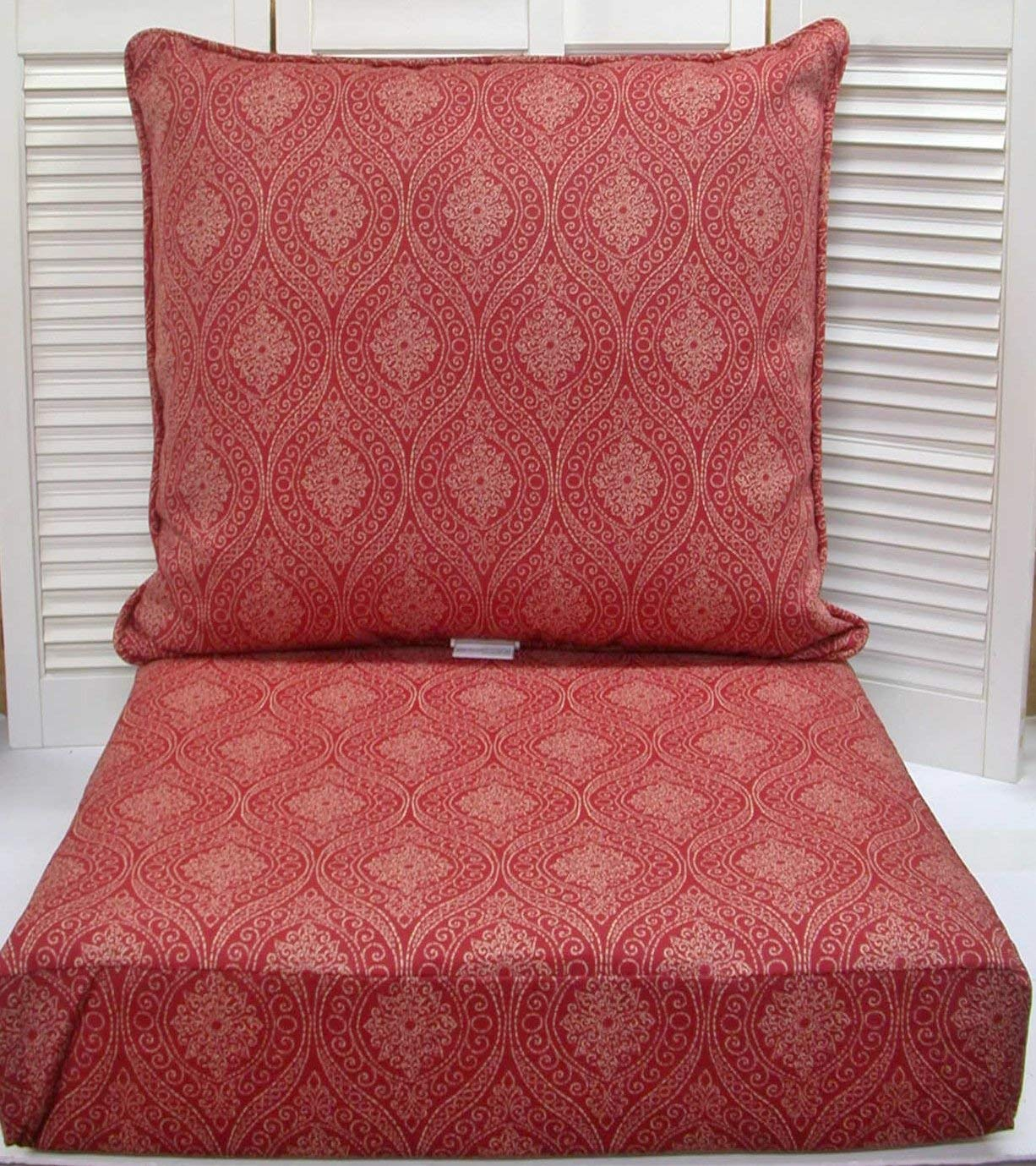 Outdoor Deep Seat Cushion Set ~ Brick Medallion ~ 24x22x7/24x24x6NEW SHIPPING INCLUDED
