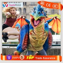 High Emulation Realistic Animatronic Walking With multi-color Adult Dinosaur Costume For Christmas Events