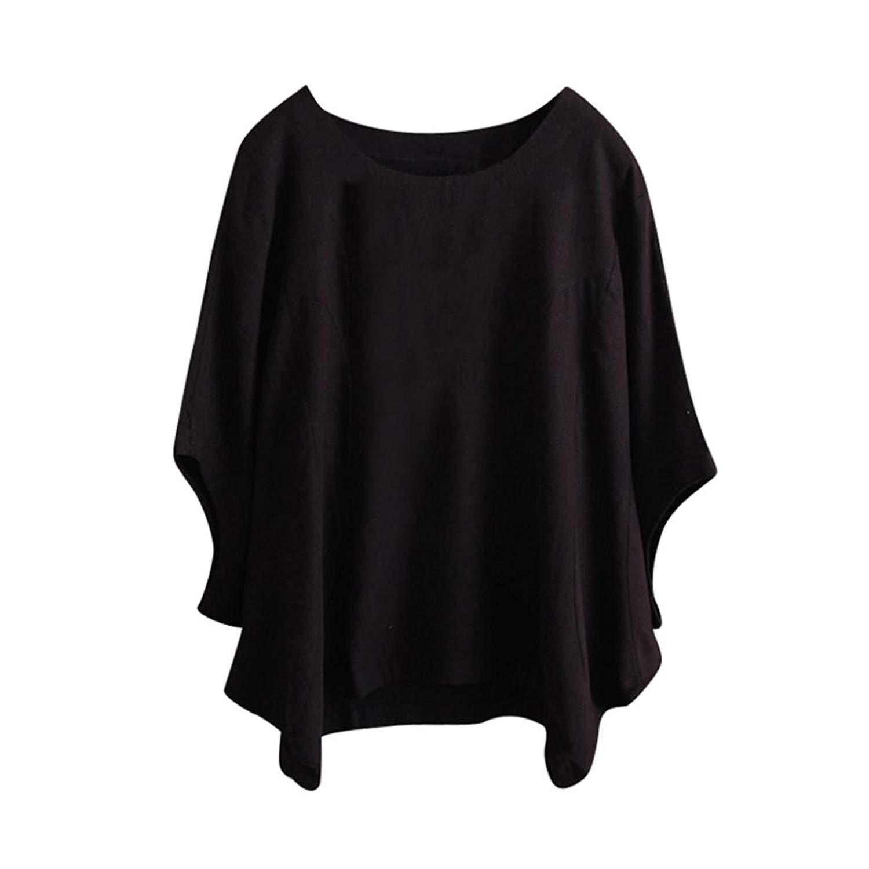 BCDshop Women Loose T Shirts Casual Solid Short Bat Sleeve Tops Summer Vintage Blouse