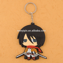 2015 Hot new cute anime customized make your own pvc keychain silicone keychain