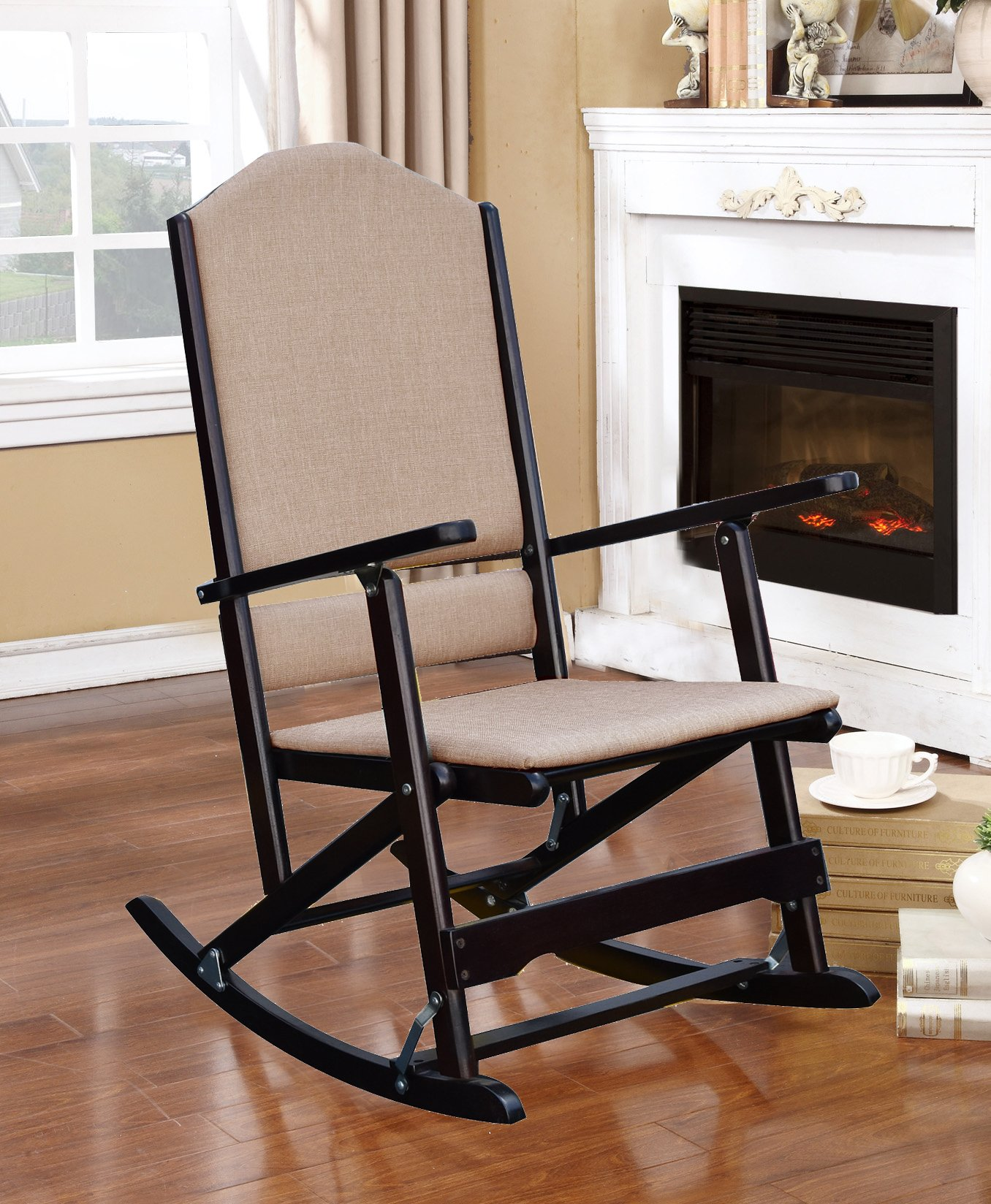 Get Quotations · Louis Solid Wood Folding Rocking Chair With Upholstered  Seat U0026 Back   Espresso