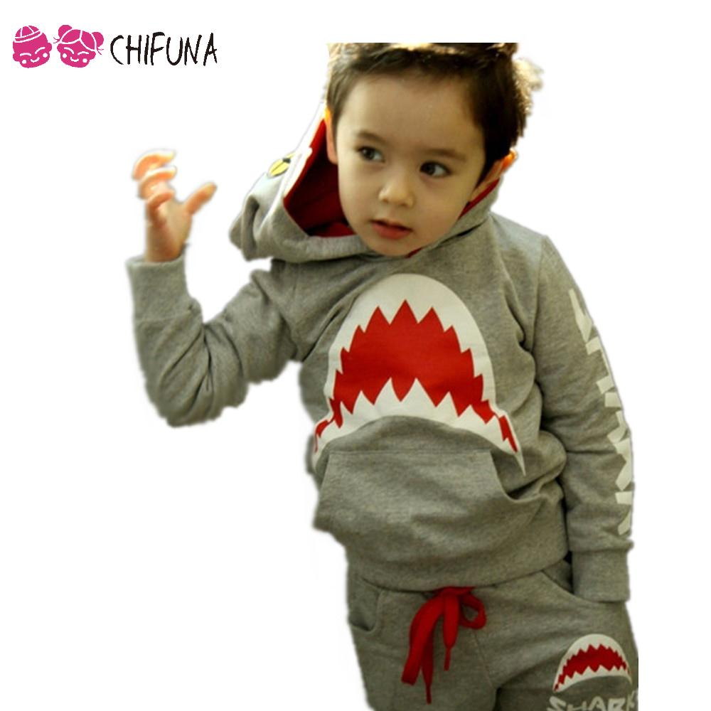 Good Quality 2016 Spring Autumn Baby Boy Clothes Set Boys Sport Shark Printing Shirt+Pants 2pcs Suit Kids Clothes Boy Sets