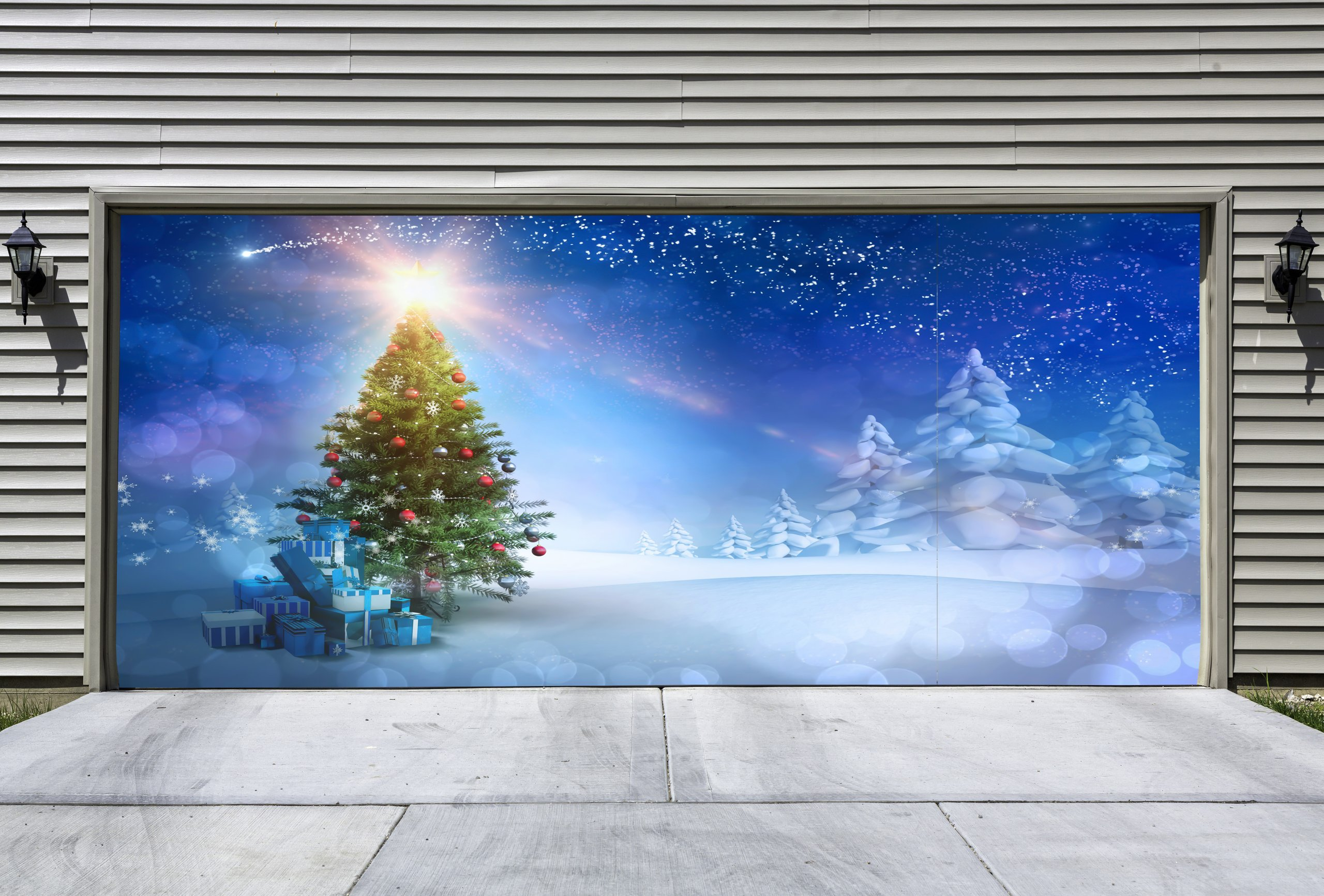 christmas tree decor garage door cover christmas door decorations outdoor holiday double garage decorations mural gd36