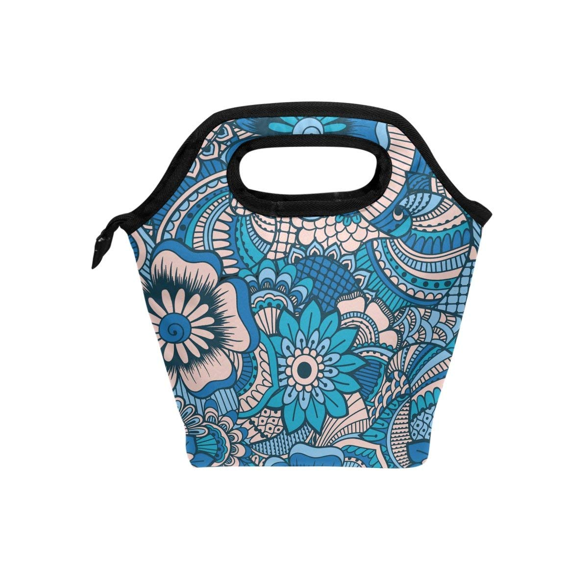 b9b79f491 Get Quotations · FOLLPY Vintage Ethnic Boho Floral Print Lunch Bag Cooler  Insulated Lunchbox Handbag Tote Bag with Zipper