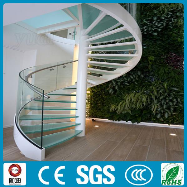 precio barato loft escalera de caracol de cristal templado de acero inoxidable