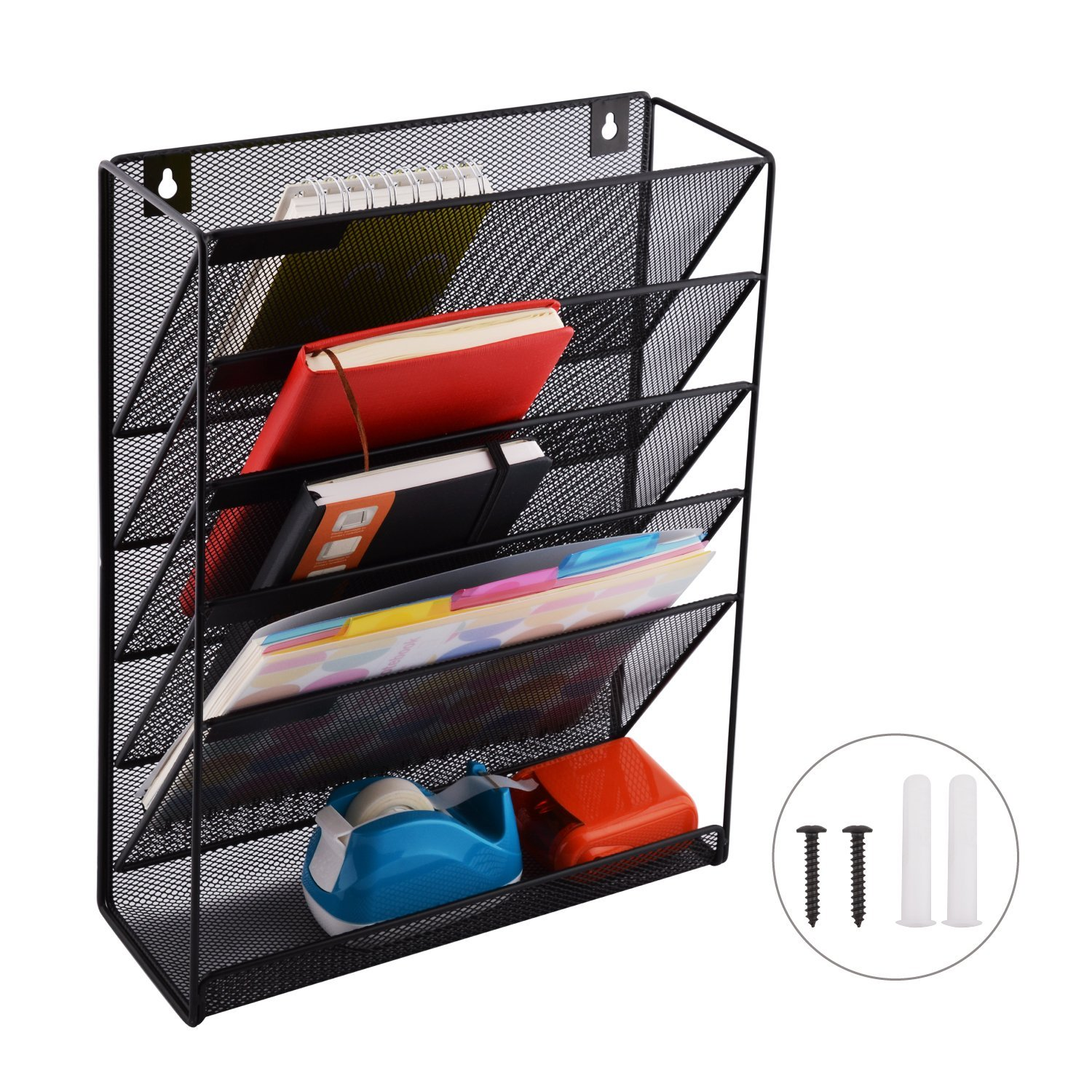 Keri /& Joachim Wall File Holder 30 Pocket Hanging File Folder Storage Vertical Wall Chart Organizer Comes with 30 Two-Toned Coloured File Folders Letter Size ⅓ Cut and 6 Heavy Duty Picture Hooks