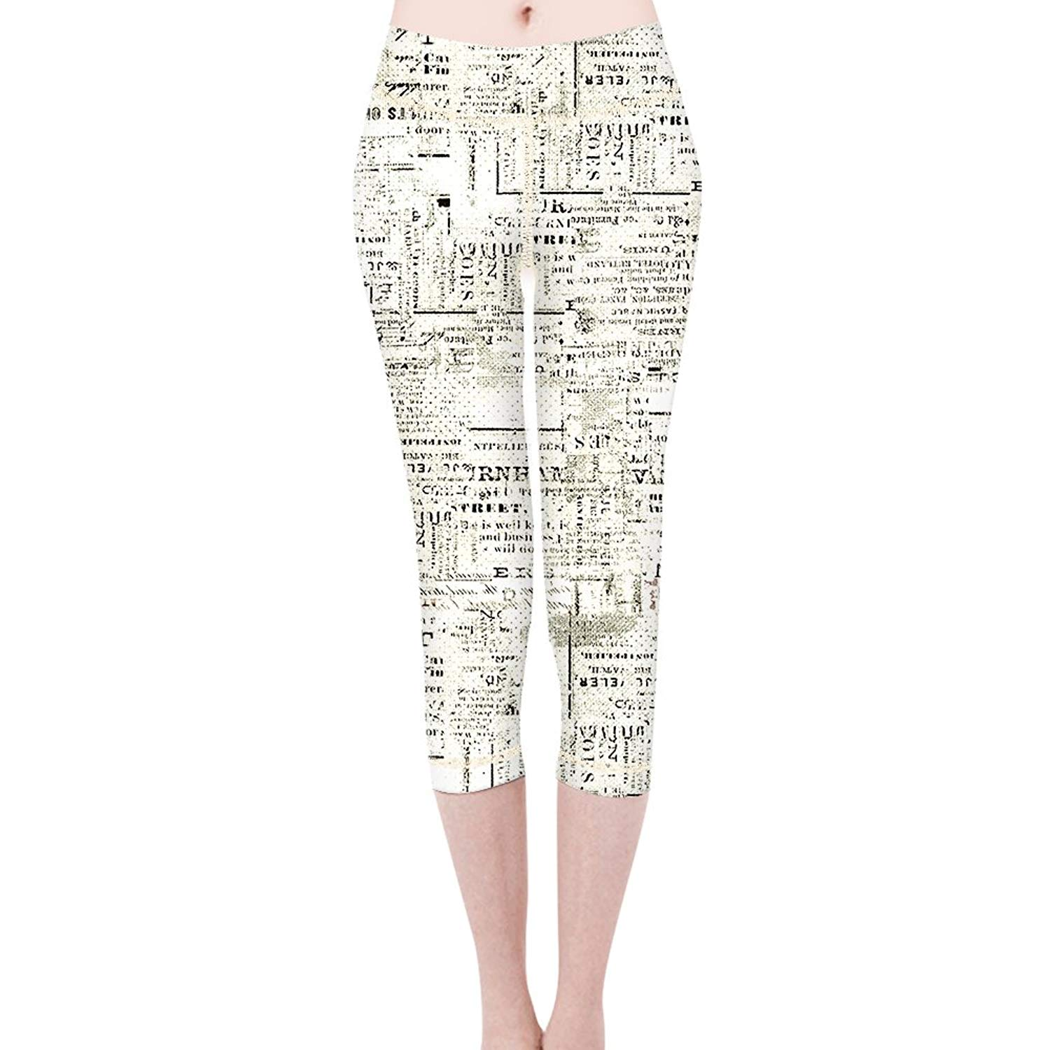 32c7702a1cbfd Get Quotations · Yoga Capris Newspaper Printed High Waist Stretch Workout  Pants Leggings for Women