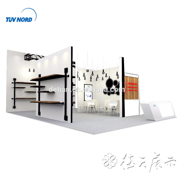 Detian Offer Beautiful Wooden Trade Show Exhibition Booth With Black & White Color