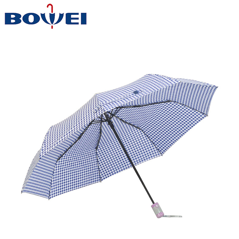 Top quality portable 3 foldable umbrella automatic with custom logo print