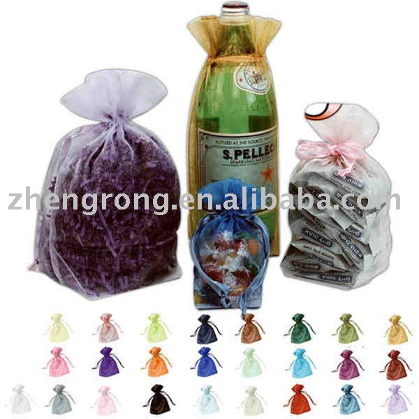 Organza bag for gift with ribbon drawstring