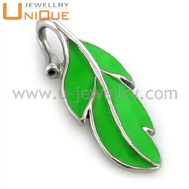 Promotional simple green leaf design silver pendant for gilrs