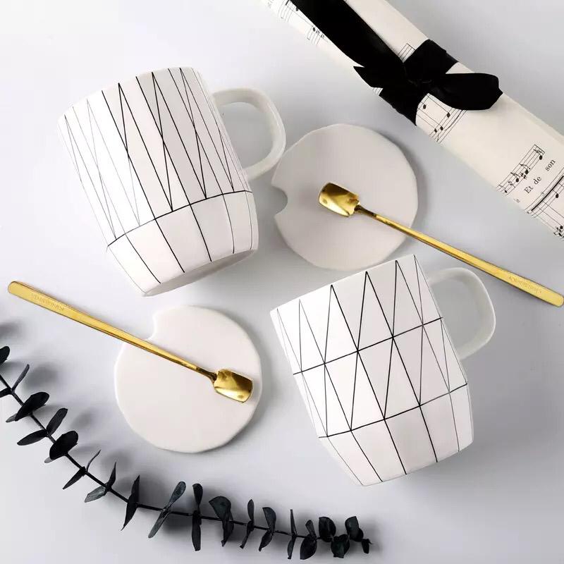 Nordic geometrie muster hotel billig groß personalisierte handgemachte keramik becher mit custom logo