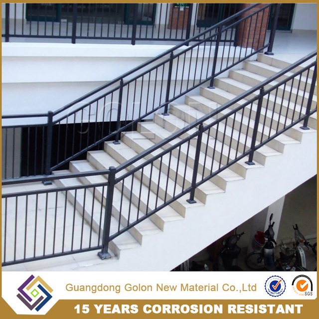 GOLON Prefab Metal Stair Railing / Outdoor Metal Stair Railing / Steel Pipe Stair  Handrail