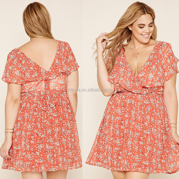 Plus Size Belted Floral Print Ruffle Deep Vneck Sexy Mini Dress For