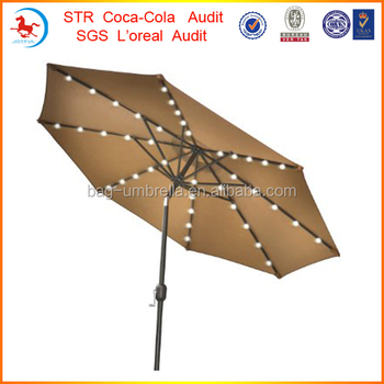 9u0027 Deluxe Solar Powered LED Lighted Patio Umbrella Light