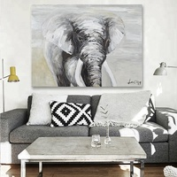 Handpainted Elephant Canvas Oil Painting