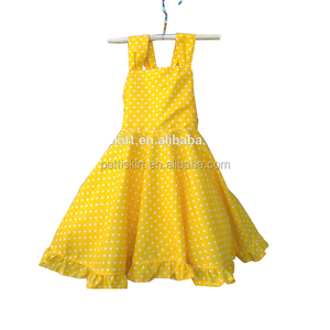 Maxi dress for baby 2018 new design fashion yellow polka dot dress