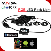 Truck SUV Auto 4 Pods RGB LED Rock Licht Bluetooth Telefon Control Multicolor <span class=keywords><strong>Neon</strong></span> Licht