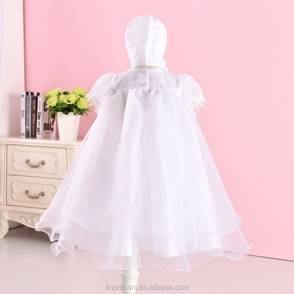 Baby Girls Embroidered Christening Baptism Dress Formal Party Gowns with Hat