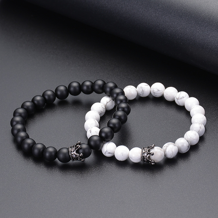 Couple Distance Bracelet White Howlite Agate Stone Bracelet with Crown Charm