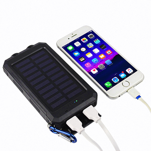 High Capacity waterproof customized 10000mAh solar power bank phone charger with dual usb port for outdoor camping traveling