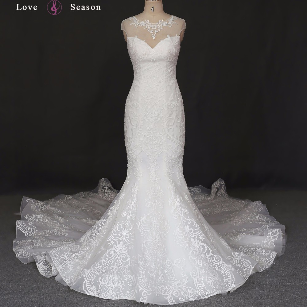 Xw6654 Lace Wedding Dress Bridal Gown Mermaid Long Train Wedding ...