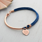 Mothers Day Gifts Custom Jewelry Engraved Stainless Steel Heart Shape Rope Bracelets for Women Men