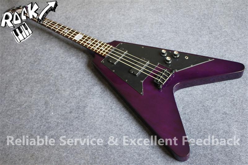 custom design g flying v bass guitar 4 strings purple black hardware sun moon stars fretboard. Black Bedroom Furniture Sets. Home Design Ideas