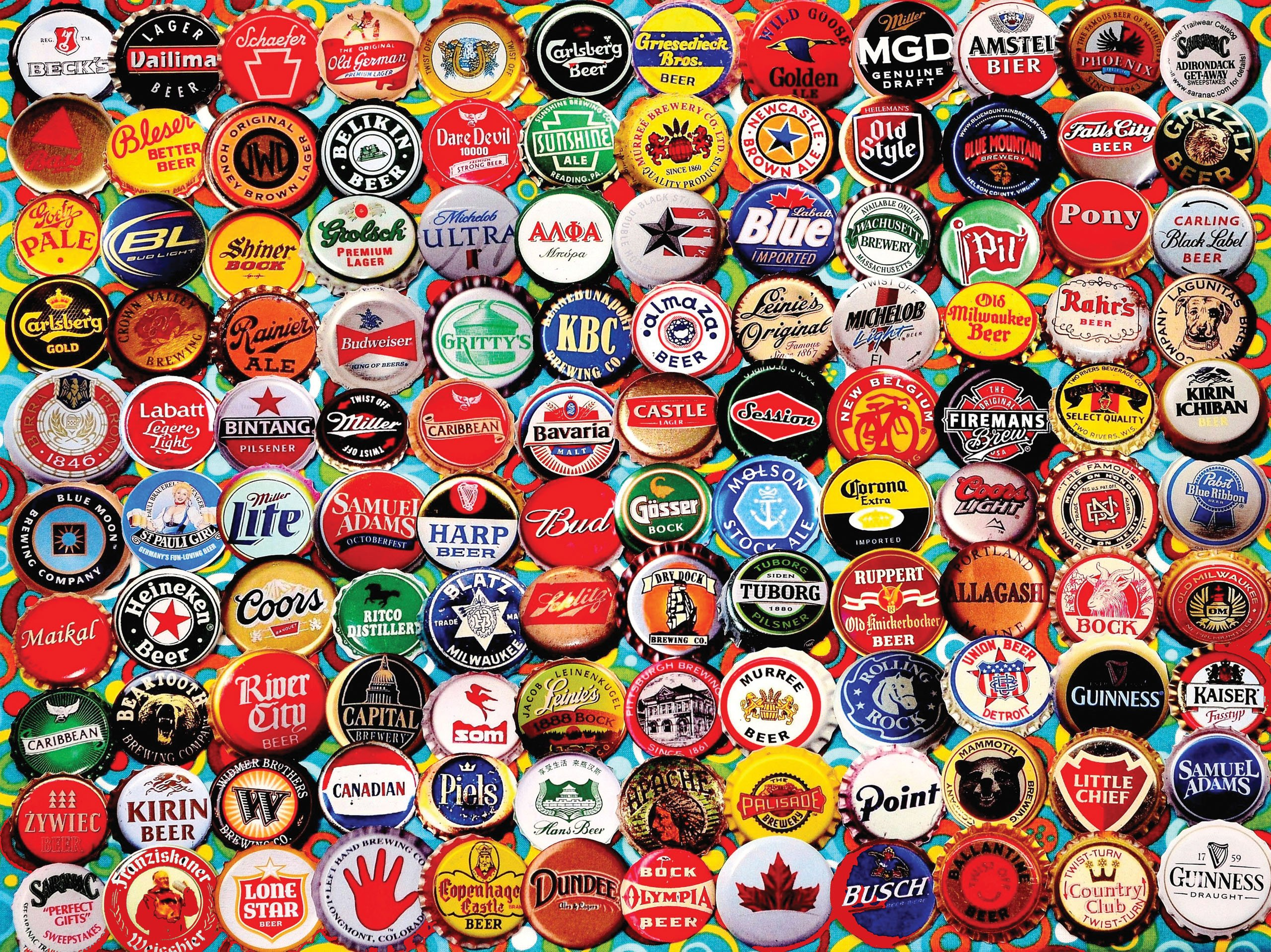 White Mountain Beer Bottle Caps - 550 Piece Jigsaw Puzzle