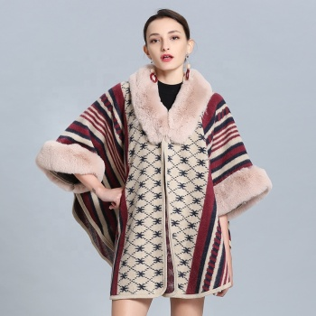 Hot Sale New Fashion Women Winter Warm Wholesale Faux Fox Fur Cape Shawl