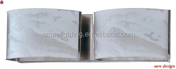 double wall lamp in bent glass diffuser with stainless steel backplate in chrome or brushed nickel color