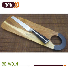 wholesale black color dipped handle bread cutting board and 8 inch bread knife set