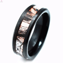 Custom Black Plated Cheap Camo Promise Tungsten Camouflage Wedding Rings