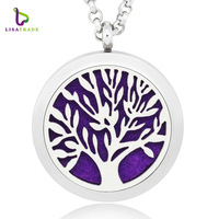 Wholesale 30mm Stainless Steel Aromatherapy Essential Oil Diffuser Necklace tree of life oil diffuser necklace
