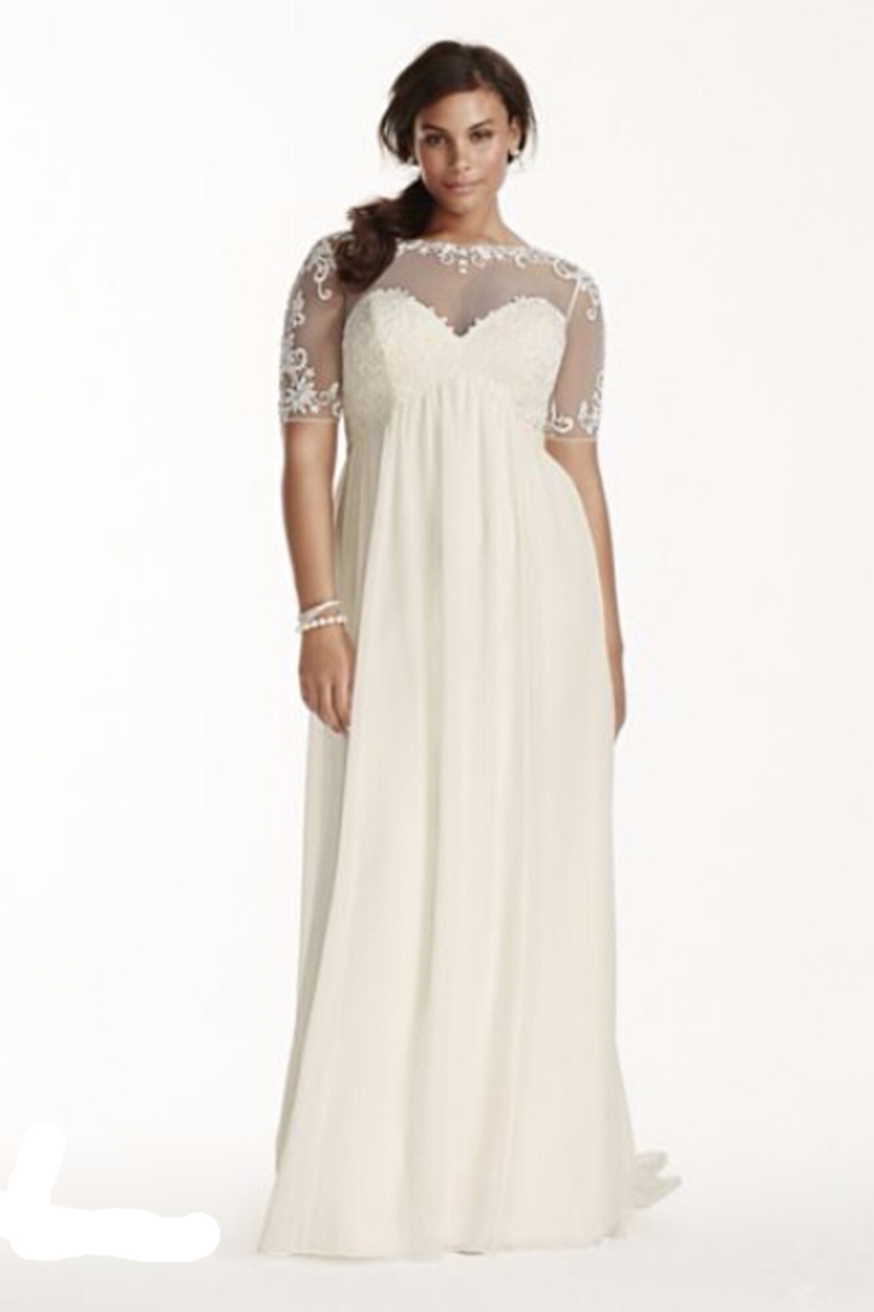 2435f9f4055 Vestidos De Noiva Chiffon Sheath with Illusion Sleeves wedding dresses half Sleeves  plus size Bridal dress