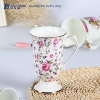 Romantic Rose Pattern Elegant Bone China Mug / Tall Slim Coffee Mug for Court Party