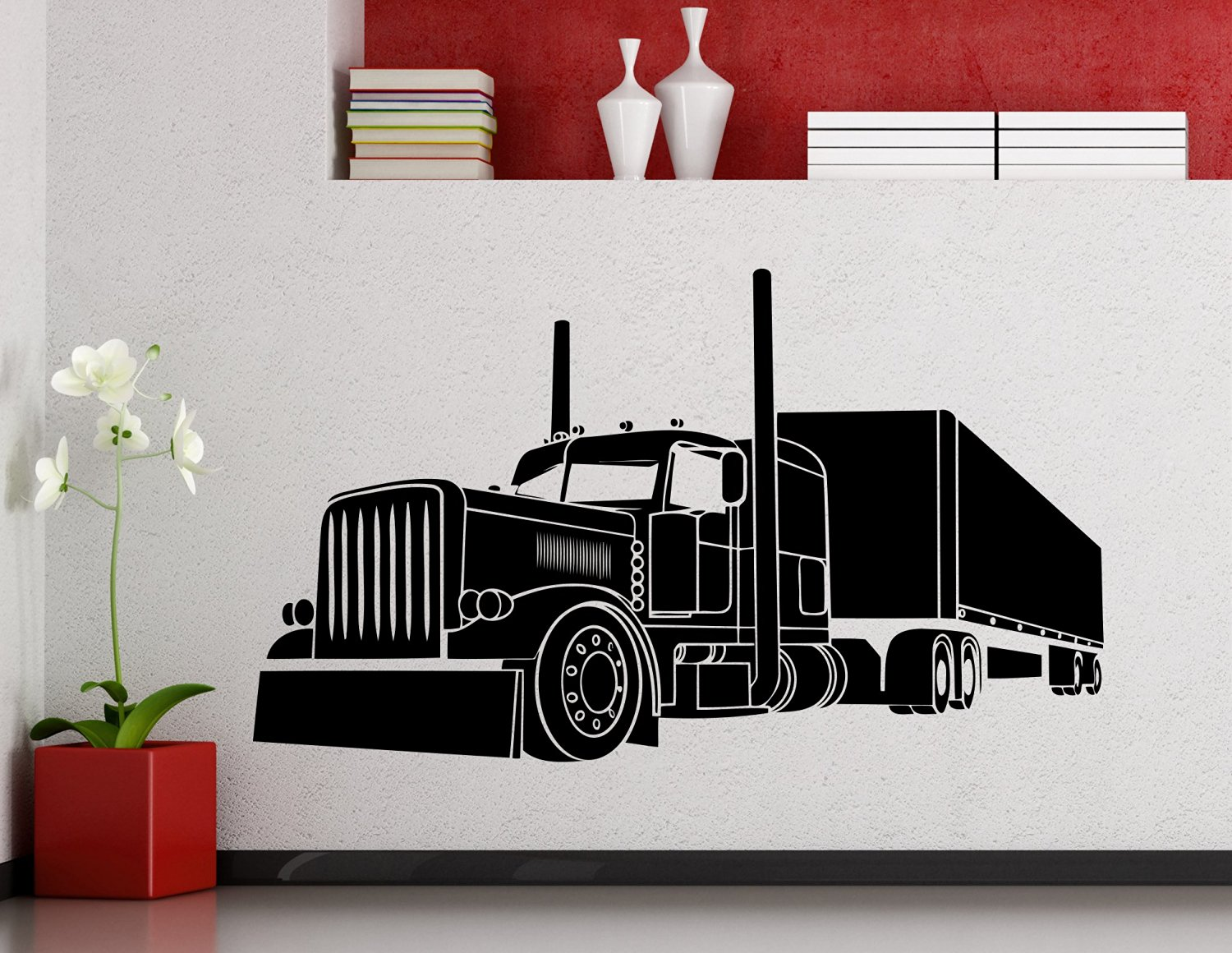 Big Truck Wall Decal Semi Truck Automobile Monster Car Vehicle Vinyl Sticker Home Nursery Kids Boy Girl Room Interior Art Decoration Any Room Mural Waterproof High Quality Vinyl Sticker (188xx)